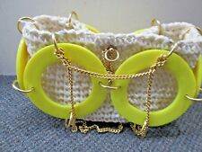 Vintage Walbord Italy Yellow Lucite Gold Chain Retro Style Woven Handbag Purse