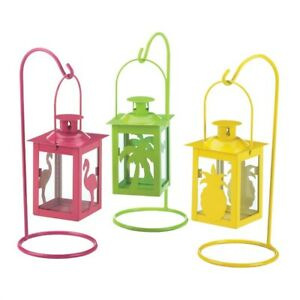 "3 Tropical Candle Lanterns Hanging Stands Pink, Green & Yellow 9"" High"