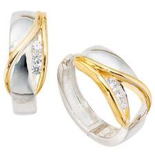 Creolen rund 925 Sterling Silber bicolor vergoldet 6 Zirkonia Ohrringe