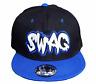 Cooles Basecap Baseball SNAP BACK Schwarz Blau SWAG LOGO Fittet Kappe Cap