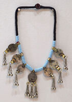 """Necklace Middle East Blue Beaded Silver Kuchi Coin Necklace 26"""""""