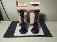 "2 New Avon Ruby Cape Cod 8 3/4"" Tall Single Light Candlesticks With No Cologne"