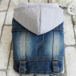 Blue Denim Dog Hoodie Vest Cowboy Coat Medium Small Dogs Pets Jackets Apparel