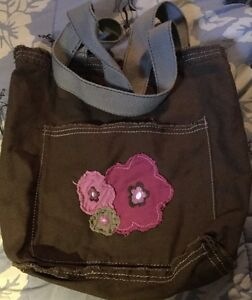 """Thirty One Sewn Floral Flower  Bag Brown / Gray Floral 11""""X11.5"""""""