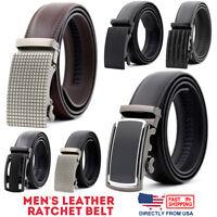 Men's Genuine Leather Exact Fit Automatic Buckle Ratchet Golf Dress Belt