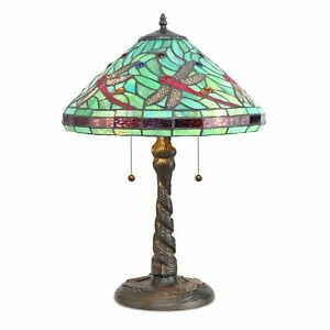 "Tiffany Style Handcrafted Stained Glass Turquoise Dragonfly Table Lamp 14"" Shade"