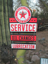 TEXACO Gasoline Filling station OIL CHANGES LUBRICATION embossed metal Sign STAR