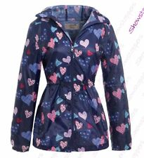 Girls Rain Mac Showerproof Raincoat Jacket Ages Size 7 to 13 Years Hooded Coat
