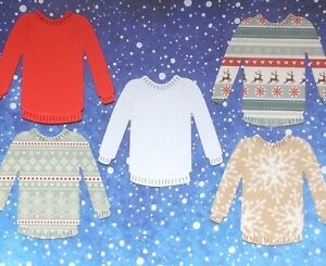 5 Christmas Jumpers Die Cut Toppers Card Making Xmas Jumper Sweater
