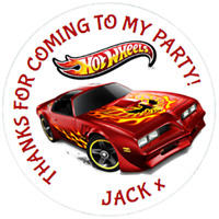 48 Personalised Party Bag Stickers HOTWHEELS Sweet Bag Seals 40mm Cone Labels