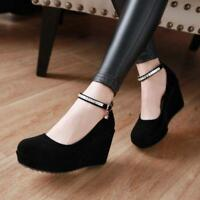 Womens Girls Faux Suede Wedge High Heel Round Toe Ankle Strap Pumps Court Shoes