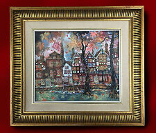 Pat Cooke Original Bolígrafo & Acuarela Pintura Dibujo Lowry-Casas Antiguas Londres