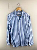 Calvin Klein Men's Long Sleeve Button Up Shirt Size S Blue Stripe