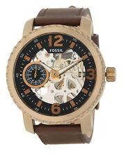 Fossil Nate Mechanical 50mm Skeleton Dial Brown Leather Men's Watch BQ2274 SD