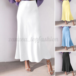 Womens Elegant Skirts Formal Retro Skirt Dress High Waist Long Maxi Skirts Plus
