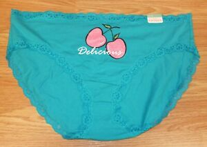 Cacique Lane Bryant Teal / Pink Cherries Women's Hipster Size 22/24 Panties