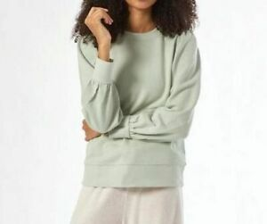 Dorothy Perkins Soft Sage Green Puff Sleeve Sweatshirt Top Size 10 Casual Lounge