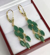 14k Solid Yellow Gold Lever-back Cluster  Dangle Earrings, Natural Emerald 3.05G