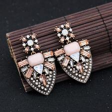 Ohrringe Mode Gestüt Golden Rosa Kristall Dreieck Anhänger Art Deco Vintage X20