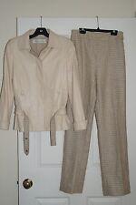 Oscar de la Renta $5,260 Cream & Beige Leather Jacket & Tweed Pants Suit 4