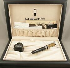 Delta Amerigo Vespucci Limited Edition Black & Wood Fountain Pen -New - 18kt Nib