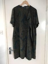 Dries Van Noten Soie Floral/feuillu robe tunique avec un front plissé Taille 12uk (38eu)