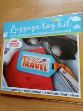 Cross Stitch Kit plastic luggage tag 14 count Emma Congdon