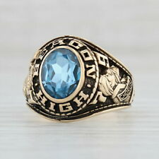 Beacon High School Class Ring - 10k Gold Synthetic Blue Spinel Size 7 1979