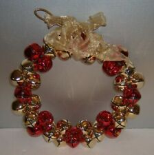 "Christmas Jingle Bell 10"" Wreath 48 Red & Gold 1 "" Bells & Gold Bow"