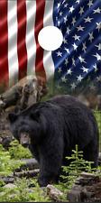 Black Bear Flag LAMINATED Cornhole Wrap Bag Toss Skin Decal