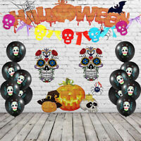 10 Pcs Skulls Latex Balloons Day of The Dead Hanging Decoration Halloween Party
