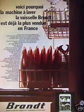 PUBLICITÉ 1973 MACHINE À LAVER LA VAISSELLE BRANDT LA PLUS VENDUE - ADVERTISING