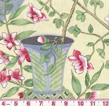 Fabricut Bird Sanctuary Buttercream Yellow Floral Print Upholstery Fabric BTY