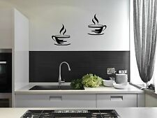 2 Coffee Cups Kitchen Wall Art Stickers Cafe Vinyl Decals Decor Mural