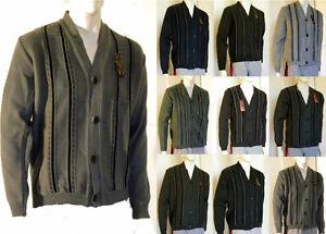 Pullover Cardigan Maglia Uomo SYLTEX B338 Grigio Verde Marrone Tg M L XL XXL