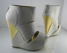 "Ivory 6""High Wedge Heel 2""Platform Open Toe Front Straps Sexy Shoes Size 8"
