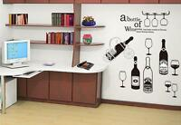 Wine Bottle Bar Home Decor Removable Wall Stickers Decal Decoration Vinyl Mural*