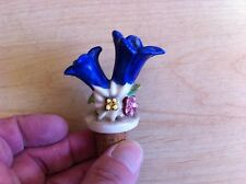 VINTAGE GOEBEL? BLUE GENTIAN DOUBLE FLOWER BOTTLE POURER / STOPPER