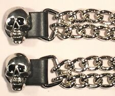 2 SKULL DOUBLE MOTORCYCLE CHAIN BIKER MC CLUB VEST EXTENDERS MADE IN USA
