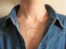 Collier ras de cou motif géométrique deux cercles en argent 925/1000e CO07