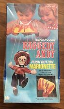 Vintage 1970's Knickerbocker Raggedy Andy Push Button Marionette Sealed 12""