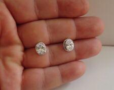 Ovalado Filigrana Dormilonas con / Diamante de Laboratorio / Plata Ley 925/1MM