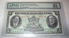 Canada Royal bank banknote $5 dollars chartered bank 1927  VF-35 BY PMG