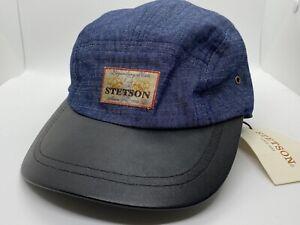Stetson denim Blue / Black adjustable ball cap baseball NWT cotton blend