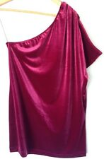 QVC Annalee + Hope One Shoulder Stretch Velvet Tunic Size XL Bnwt
