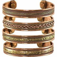 Set of 4 Tibetan Copper Bracelets Womens Mens Magnetic India Pattern Bangles
