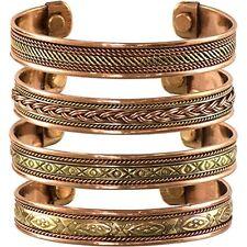 Womens Mens Set of 4 Tibetan Copper Bracelets Magnetic India Pattern