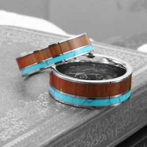 Tungsten Wedding Rings for Women Men Wood & Turquoise Inlay Matching Band Ring