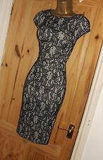 Black nude stretchy vintage 40s lace galaxy pencil wiggle cocktail dress 16 18