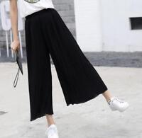 Women's Summer Pleated Wide Leg High Waist Casual Trousers Loose Crop Pants Hot